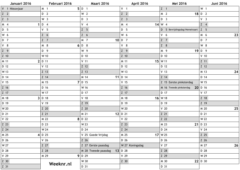 Kalender voor 2016 met weeknummers en feestdagen ... nationale ...